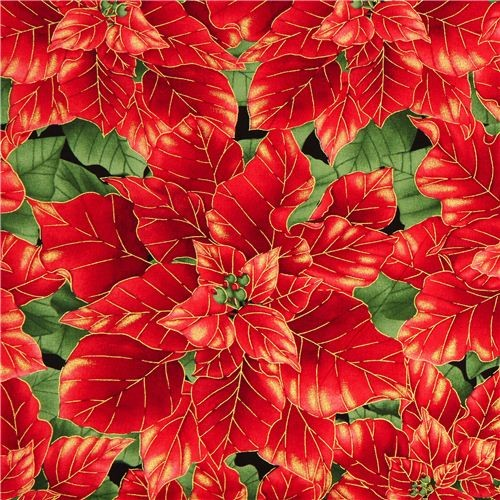 black designer Christmas fabric with red poinsettia