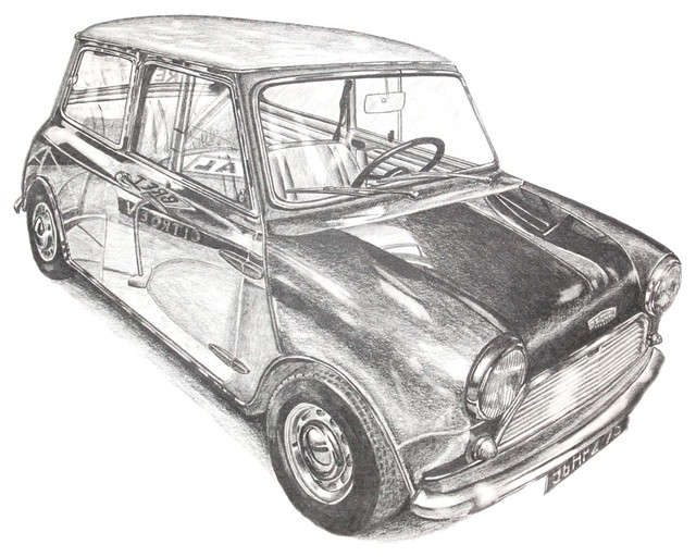 Mini Cooper Original Drawing Contemporary Drawings And Ilrations By Zatista