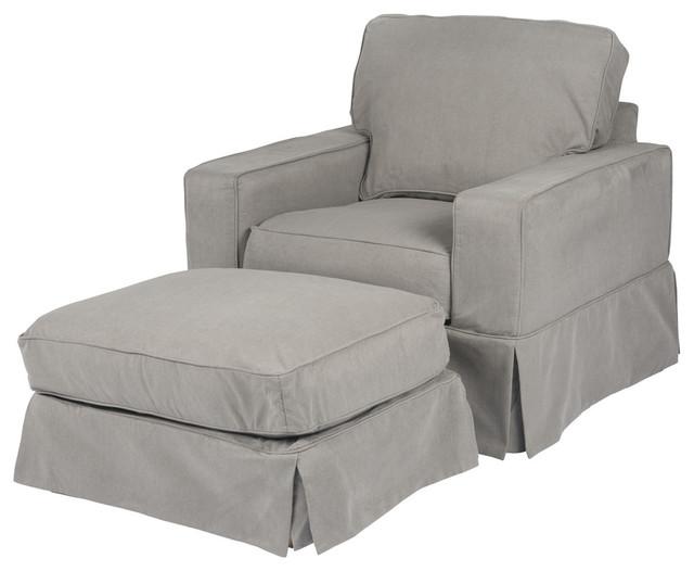 Americana Slipcovered Chair And Ottoman Performance Gray