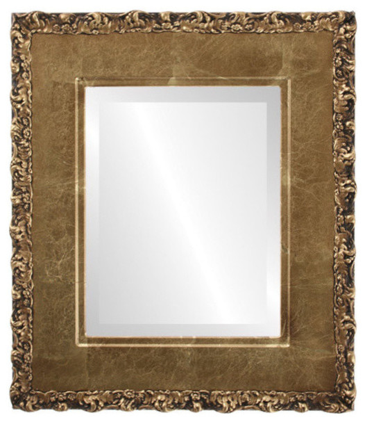 """Williamsburg Framed Rectangle Mirror In Champagne Gold, 31""""x43""""."""