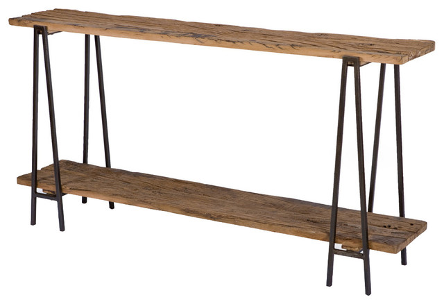 Bartlett Rustic Lodge Wood Metal Rectangle Console Table.