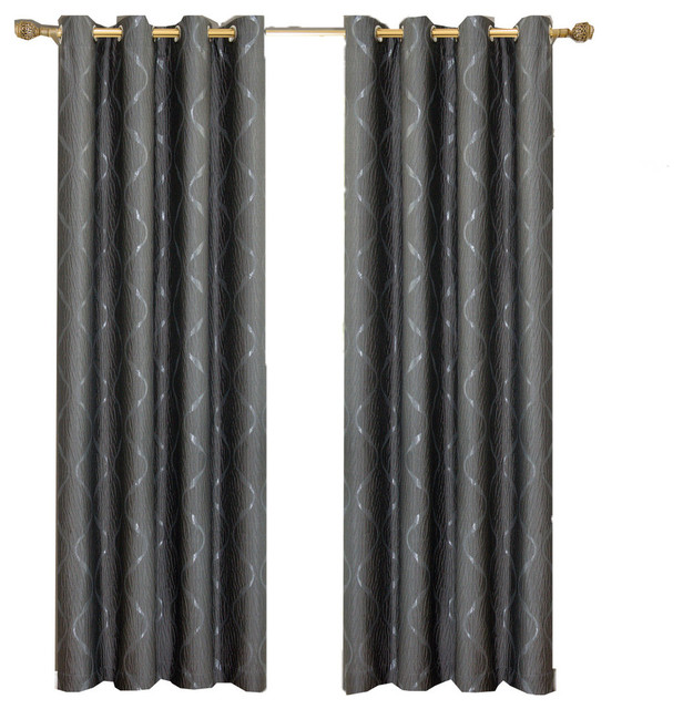 "Laguna 100% Polyester Jacquard Grommet Curtains, Set Of 2, Steel, 104""x108""."