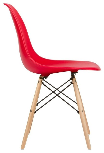 Admirable Red Natural Wood Legs Eiffel Dining Room Chair Set Of 6 Creativecarmelina Interior Chair Design Creativecarmelinacom