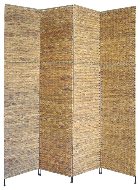 Jakarta Water Hyacinth Folding Screen - Tropical - Screens And ...