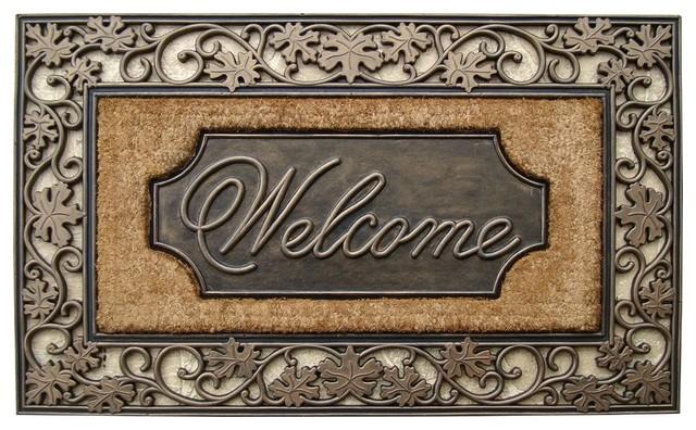 "welcome"" rubber and coir doormat - transitional - doormats -a1"