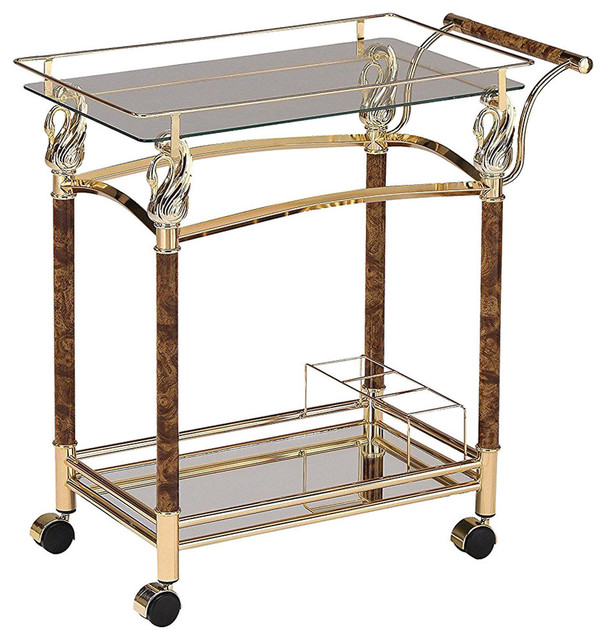 Serving Cart, Golden Plated And Clear Glass.