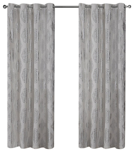 """Curtain Panel Pair, Set Of 2, Silver, 54""""x108""""."""