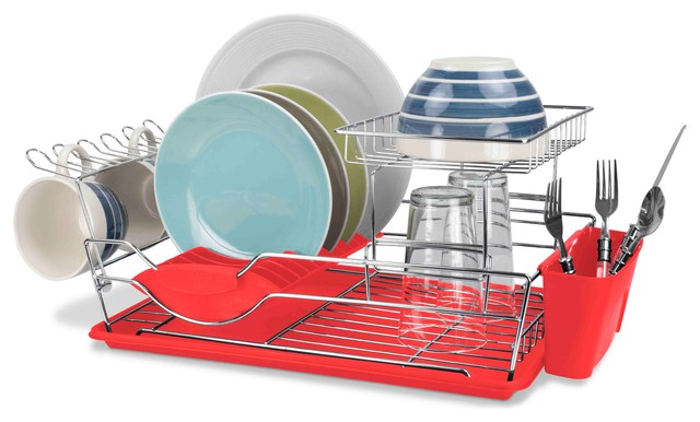 Home Basics 2 Tier Dish Rack Inspiration Home Basics 60Tier Dish Drainer Contemporary Dish Racks By