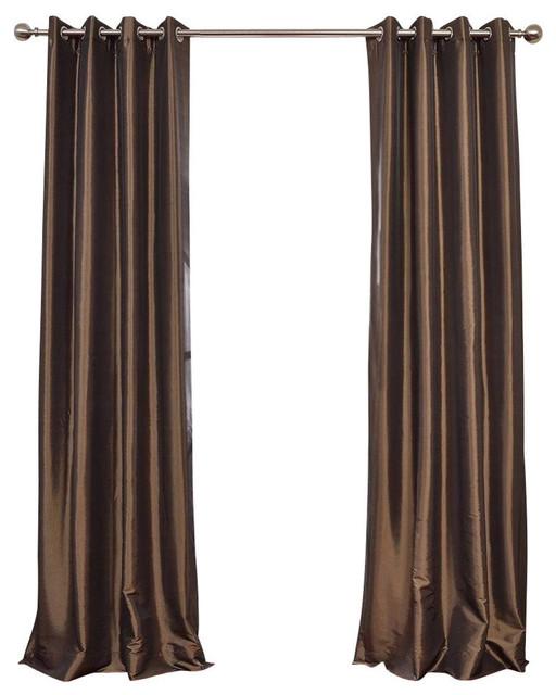 "Mushroom Grommet Blackout Fauxsilk Taffeta Curtain Single Panel, 50""x108""."