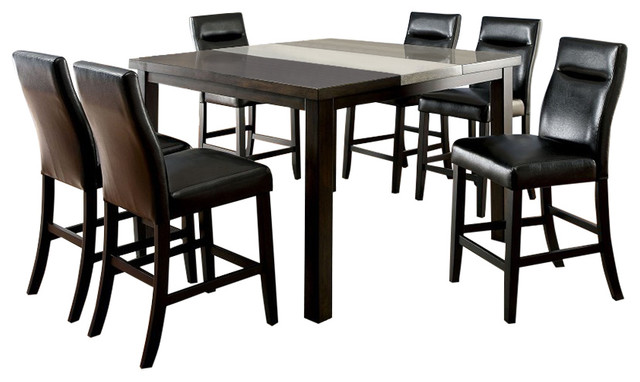 Leonard Industrial Style 7 Piece Counter Height Dining
