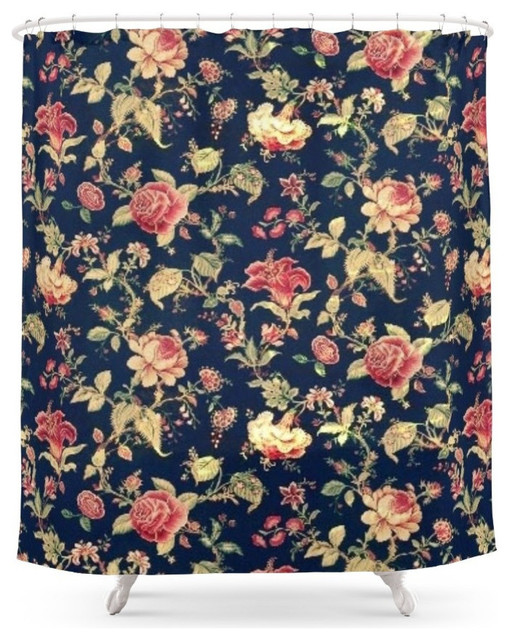 Vintage Floral Shower Curtain - Contemporary - Shower Curtains - by Society6