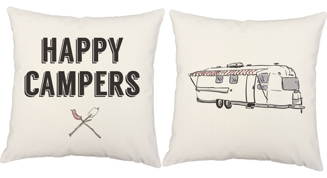 """Camping Throw Pillow Covers, 2-Piece Set, White Indoor, 14"""", No Insert."""
