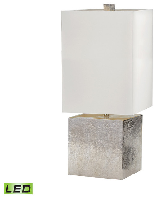 Cement Cube LED Table Lamp, Nickel Transitional Table Lamps