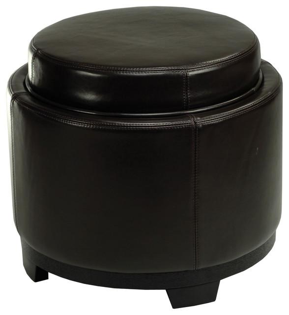 Round Ottoman Coffee Table Tray: Round Storage Tray Ottoman