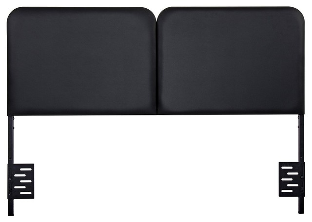 Prime Black Steel Headboard With Faux Leather, Queen.