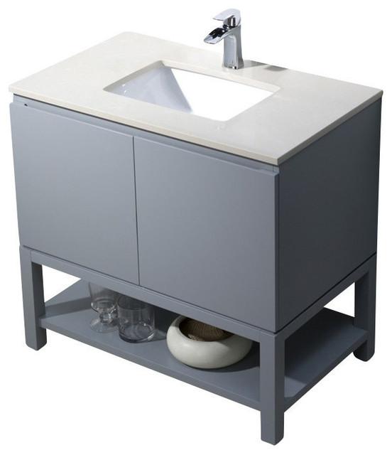 Emmet 37 Vanity, Metal Gray, White Sink, White Quartz Countertop.