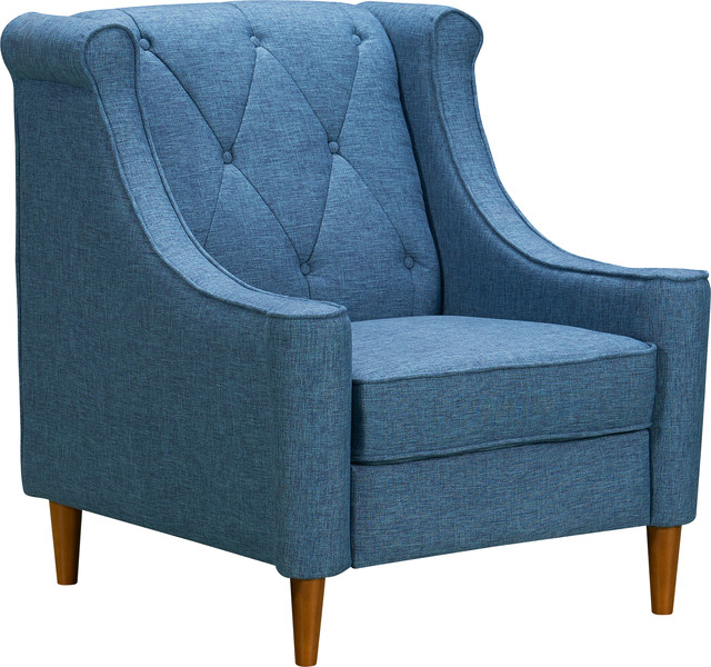 Mid-Century Sofa Chair, Champagne and Blue by Armen Living