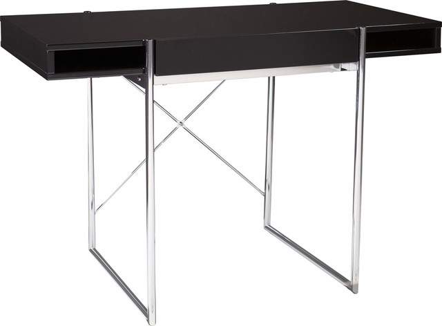 Brayton Desk, High Gloss Black With Chrome.