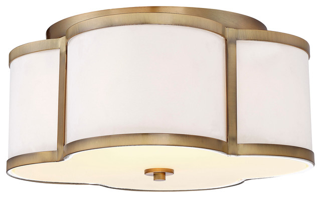 3-Light Semi-Flush Mount, Natural Brass