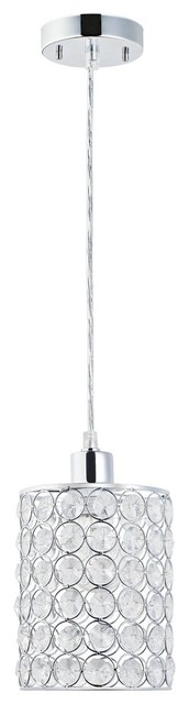 1-Light Mini Pendant-Light Chrome With Crystal Shade.