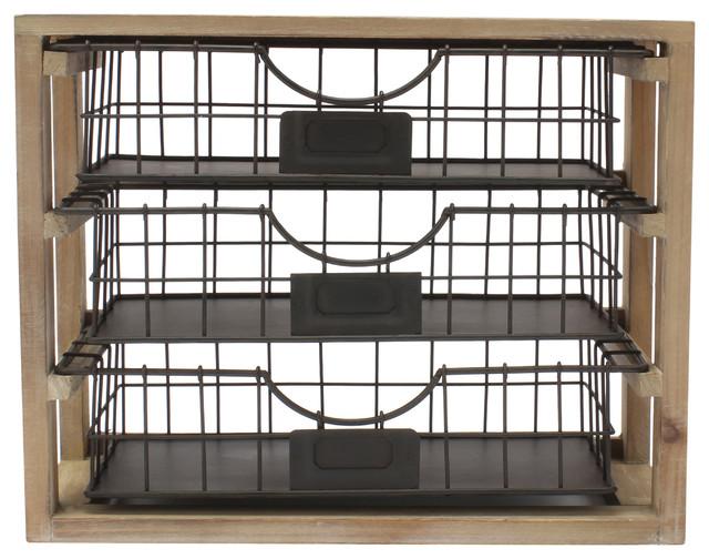 Cool Tanner Rustic Wood And Metal Desktop Drawer Organizer Home Interior And Landscaping Ferensignezvosmurscom