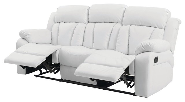 Springfield Reclining Sofa, White Faux Leather.