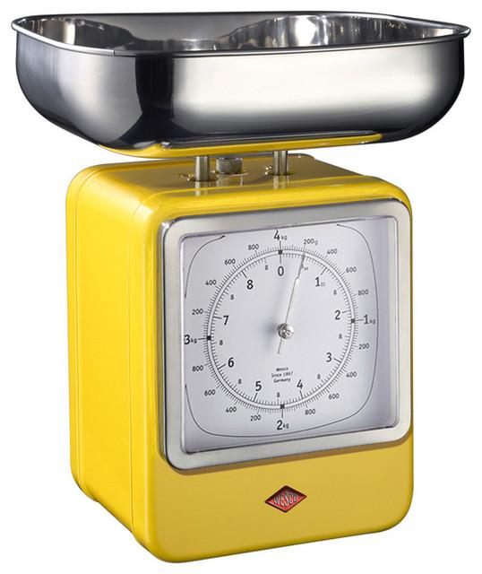 Wesco Retro Scales With Clock, Lemon Yellow