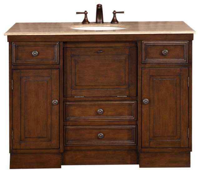 48 Inch Walnut Bathroom Vanity With Single Sink Travertine Top Traditional Traditional Bathroom Vanities And Sink Consoles By Luxury Bath Collection Houzz