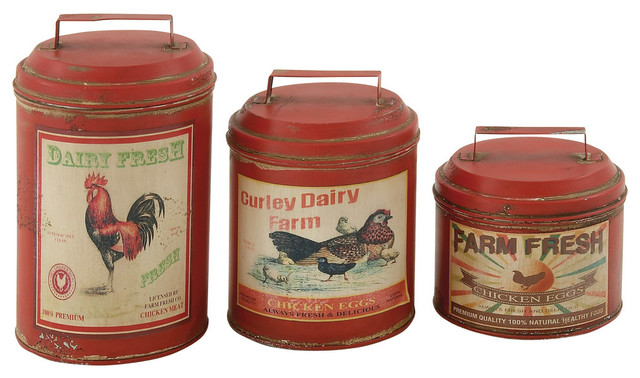 Farmland 3 Piece Metal Canister Set Farmhouse Kitchen Canisters And Jars By Gwg Outlet