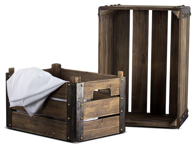 2-Piece Rectangular Rustic Wooden Storage Crates.