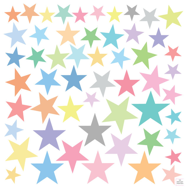 Pastel Rainbow Star Wall Decals, 5 Point Eco-Friendly Reusable.