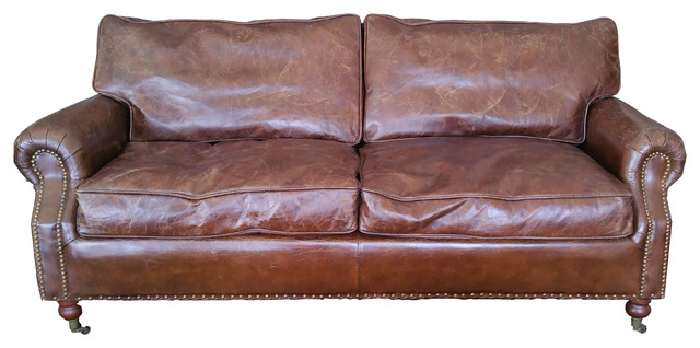Attractive 100% Leather Sofa With Decorative Nails, Down Feather Cushion Rustic Sofas
