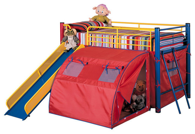 Fun Play Lofted Twin Bunk Bed With Slide And Tent Metal Frame Bold Multicolor Contemporary
