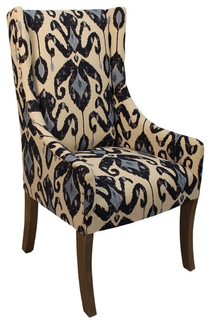 madison chair in ikat navy beach style armchairs and accent rh houzz com Green Arm Chair ikat print armchair