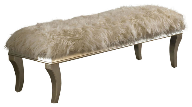 Aico Hollywood Swank Bed Bench, Platinum.