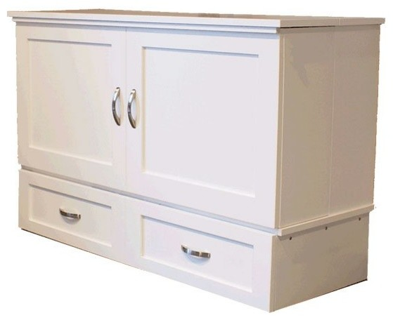 Country Style Full Cabinet Bed White Murphy By