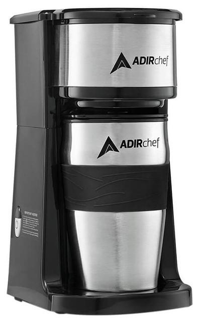 Adirchef Black Grab N&x27; Go Personal Coffee Maker With 15 Oz. Travel Mug, Black.