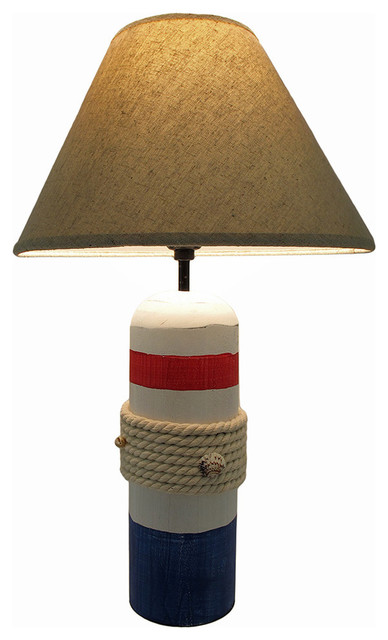 Exceptional White Red Blue Rope And Seashell Nautical Buoy Lamp With Shade Beach Style  Table