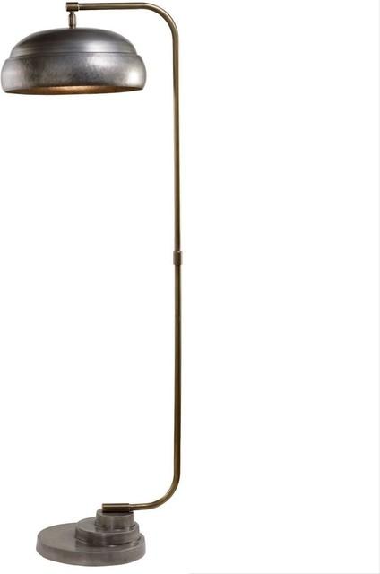 Metal Shade Curved Silver Brass Vintage, Vintage Silver Floor Lamp