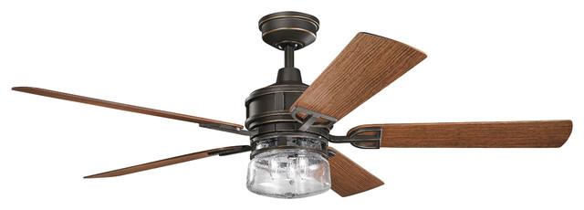 60 Lyndon Patio Fan, Olde Bronze, Dark Walnut/medium Walnut Blade.