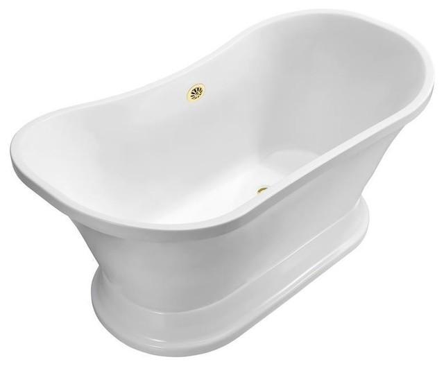 "Streamline 68"" Soaking Freestanding Tub With External Drain | N201, Gold."