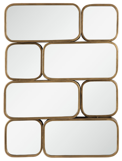 Mid Century Modern Gold Mirrored Wall Art Geometric Staggered Collage Metal