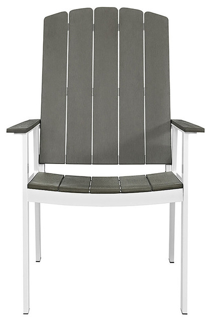 Coastal Outdoor Dining Chairs, Gray/white, Set Of 2.