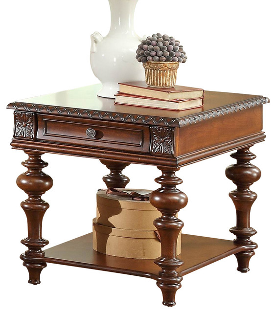 Lovely Homelegance Westfeldt 1 Drawer End Table In Rich Cherry Traditional Side  Tables