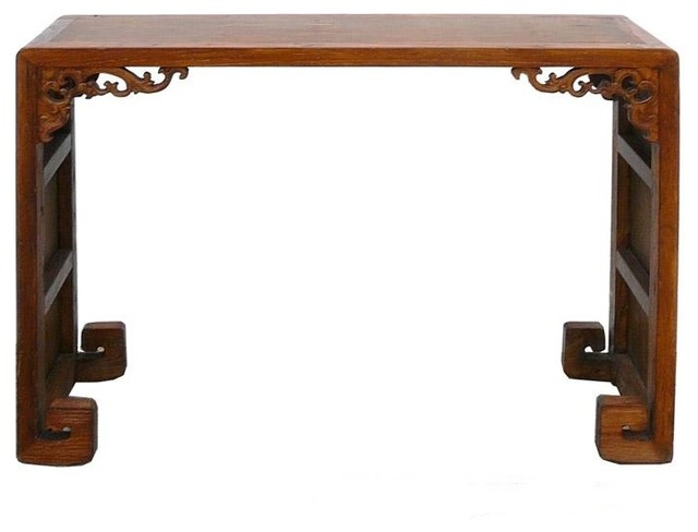Chinese Elm Wood Bamboo Scroll Altar Table