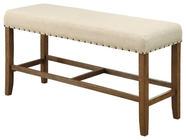 Furniture Of America Sania Counter Height Dining Bench, Natural.