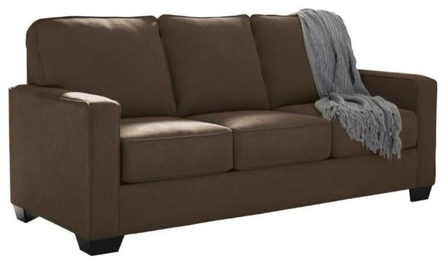 Ashley furniture ashley zeb twin sleeper sofa charcoal for Transitional sectional sofa sleeper