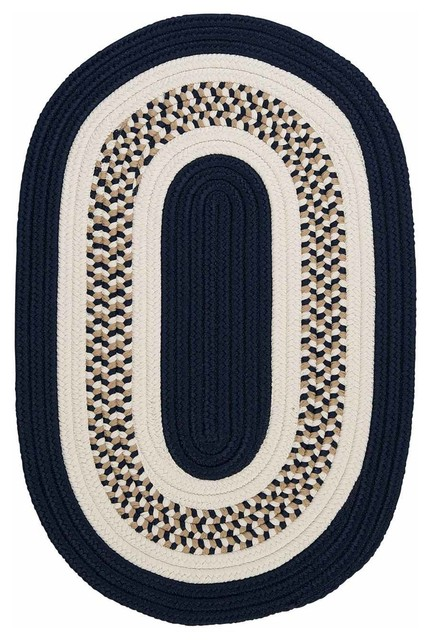 Round Navy Rug Home Decor