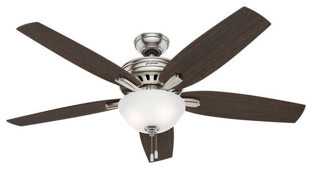 "Hunter 56"" Newsome With Light Brushed Nickel Ceiling Fan With Light."