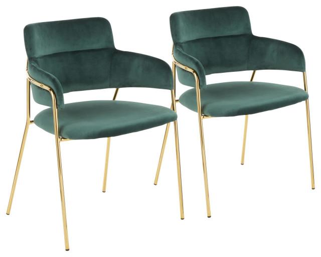 Napoli Chair, Set of 2, Gold Metal, Emerald Green Velvet